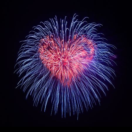 Heart from fireworks on the black sky background Stock Photo - 5540584