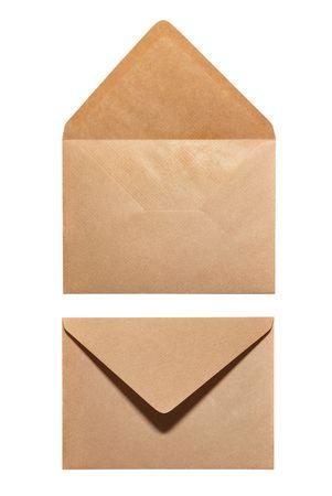 envelope with letter: 2 lati della busta isolato su sfondo bianco Archivio Fotografico