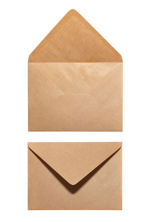 2 sides of envelope isolated on white background photo
