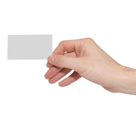 holding blank sign: Gray card blank in a hand isolated on white. Stock Photo