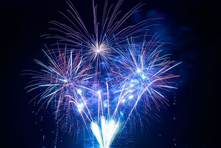 Beautiful fireworks on the black sky background Stock Photo - 5540645