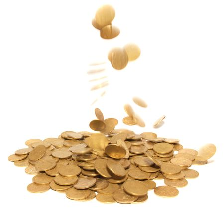 Rain of golden coins isolated on white photo