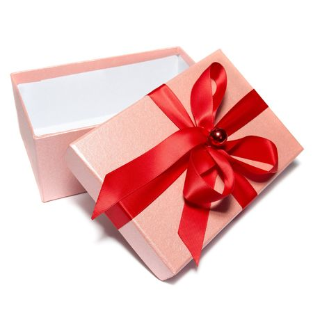 gift giving: Open gift box isolated on white background