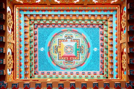 The buddhistic painting inside of the temple photo