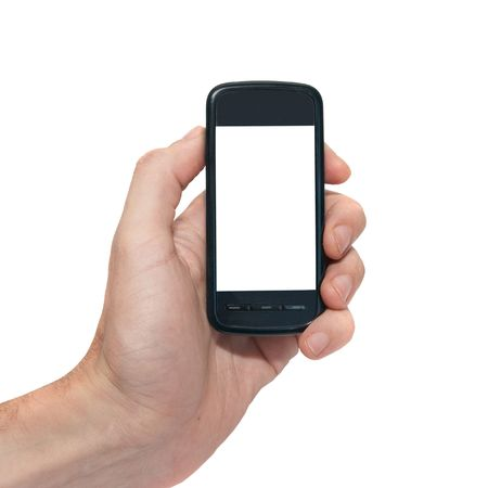 Mobile phone with empty screen isolated on white photo
