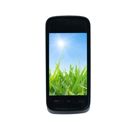 phone number: Mobile smart phone isolated on white background