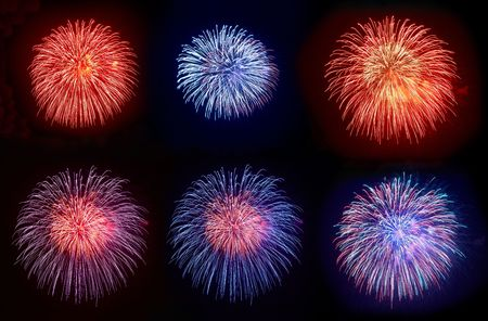 Six beautiful fireworks on the black sky background Stock Photo - 6047268