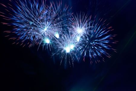 Beautiful fireworks on the black sky background Stock Photo - 6113632