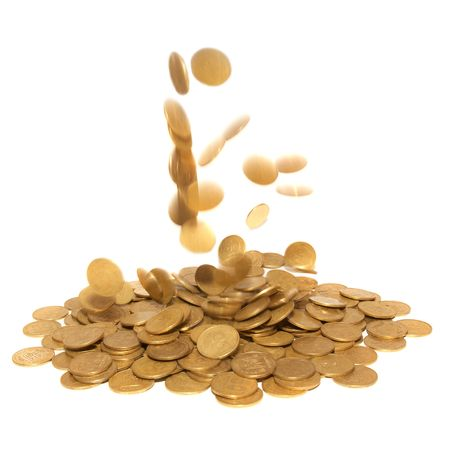 jackpot: Rain of golden coins isolated on white Stock Photo