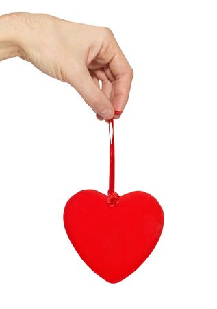 Big valentine heart in a hand. photo