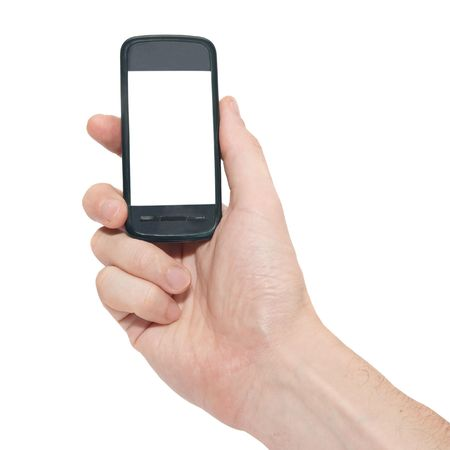Mobile phone in the hand isolated on white photo