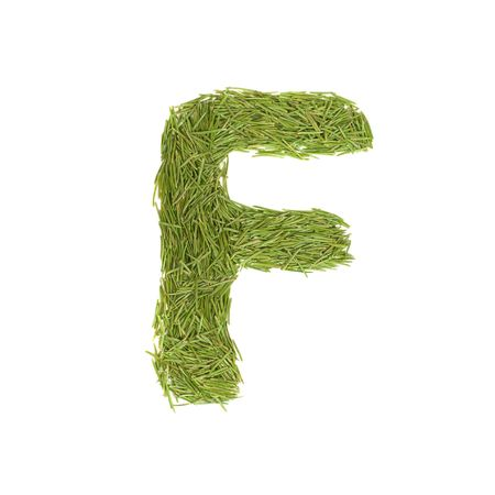 Green alphabet, letter F isolated on white photo