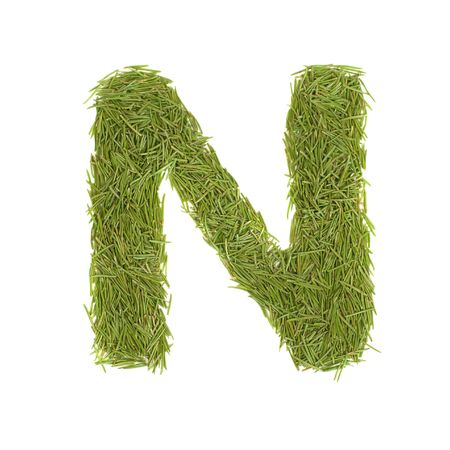 Green alphabet, letter N isolated on white Stock Photo - 6520124