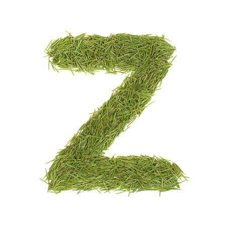 Green alphabet, letter Z isolated on white photo