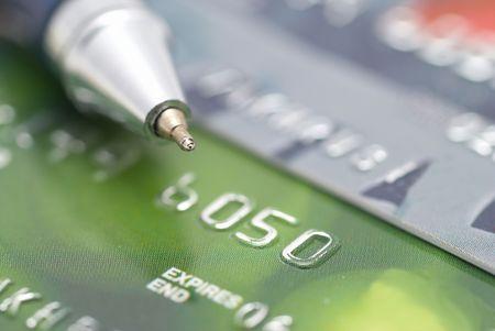tarjeta visa: Tarjetas de cr�dito con fondo de financiaci�n de pluma-concepto  Foto de archivo