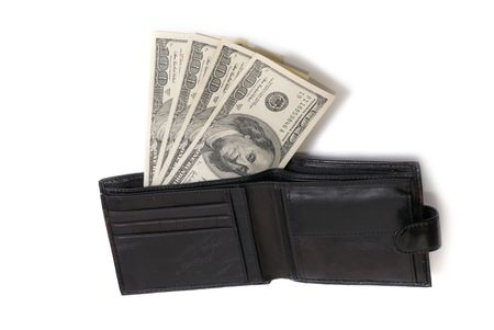Wallet with dollars isolated on white background photo