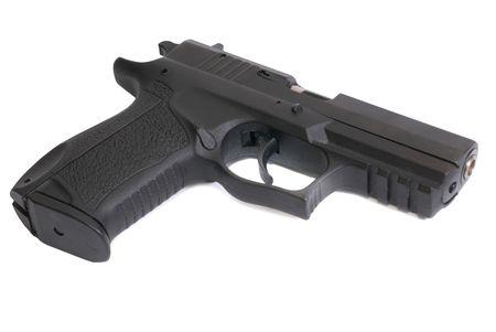 The black gun isolated on white background photo