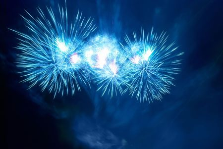 Beautiful fireworks on the black sky background Stock Photo - 6690744