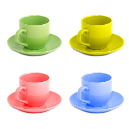 cup four: Four color teacups isolated on white background Stock Photo