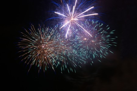 Fireworks, salute on the black sky background Stock Photo - 7113537