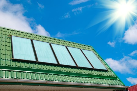 gelio: Solar water heating system on the roof.