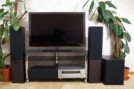 Home theater with plasma tv and hi-fi acustics Stock Photo - 7820273