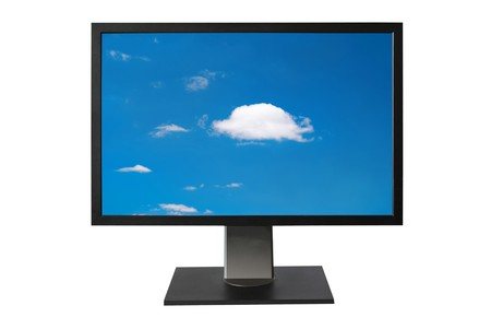 LCD monitor with blue sky screen isolated on white Stock Photo - 8192175