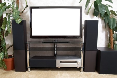 Home theater with plasma tv and hi-fi acustics Stock Photo - 8192232