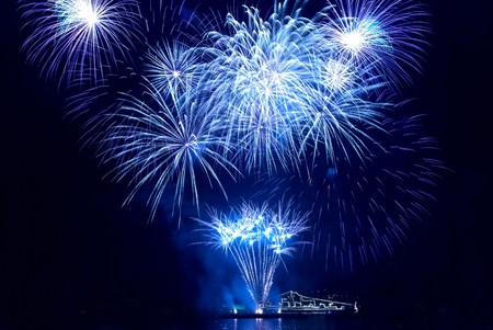 firework display: Colorful fireworks on the black sky background Stock Photo