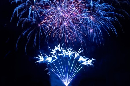 Colorful fireworks on the black sky background Stock Photo - 8192202