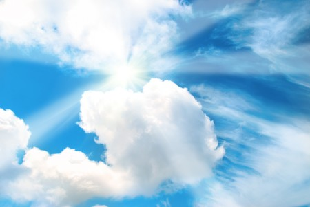 Beautiful sky with sun and clouds can be used for background photo