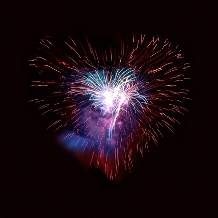Heart fireworks on the black sky background Stock Photo - 8192257