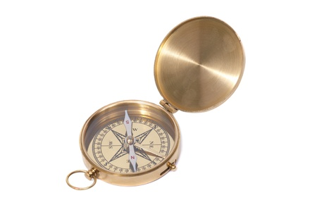 Golden ancient compass isolated on white background Stock Photo - 8422077