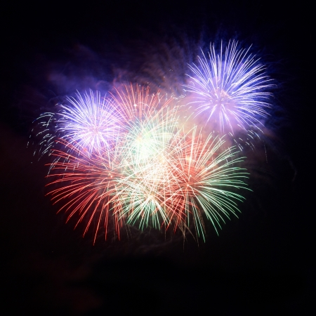 firework: Colorful fireworks on the black sky background Stock Photo