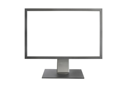 Gray LCD monitor with empty screen isolated on white photo