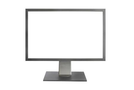 Moniteur LCD Gray avec écran vide isolé sur fond blanc Banque d'images