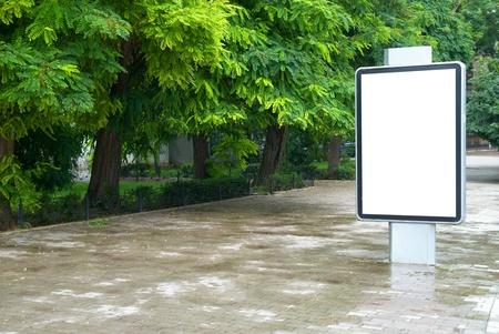 billboard blank: Vertical blank billboard on the city street