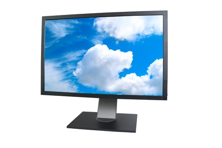 big screen tv: LCD monitor with empty screen isolated on white