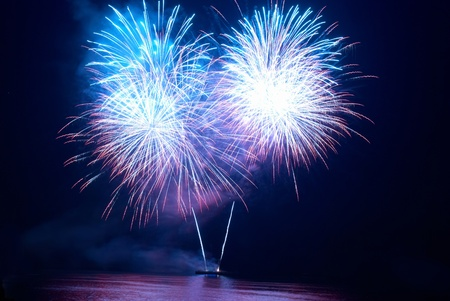 Colorful fireworks on the black sky background Stock Photo - 9314397