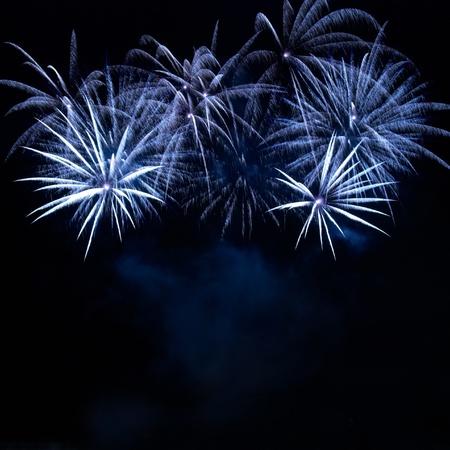 fuegos artificiales: Coloridos fuegos artificiales en el fondo de cielo negro