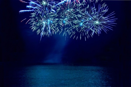 Colorful fireworks on the black sky background Stock Photo - 9742835