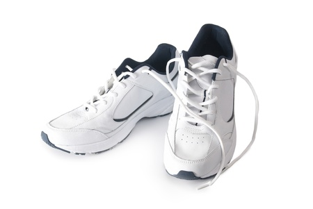 Pair white of trainers on isolated background Stock Photo - 9980859