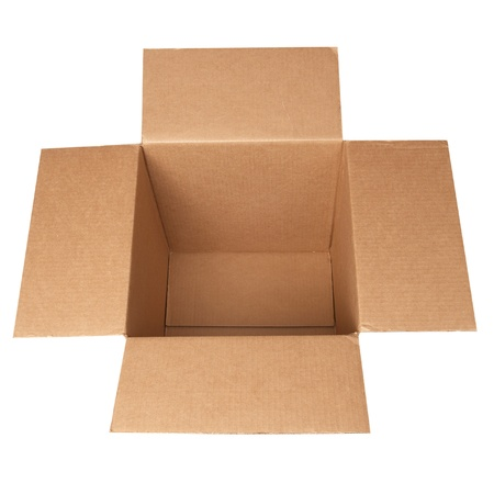 Open carton box isolated on white background photo