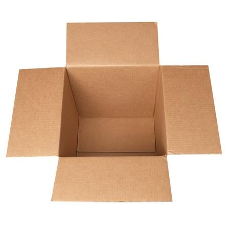 Open carton box isolated on white background photo