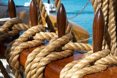 rigging: Yachts ropes and tackles- marine rigging equipment.