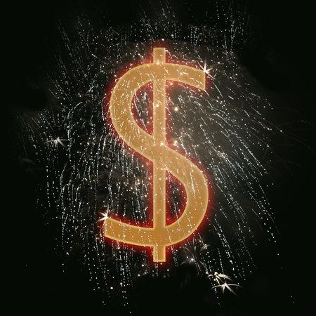 Dollar sign, symbol  isolated on the black background photo