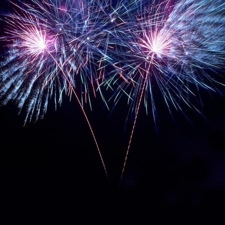 Colorful fireworks on the black sky background Foto de archivo