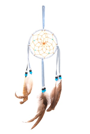 Blue dream catcher isolated on white background photo