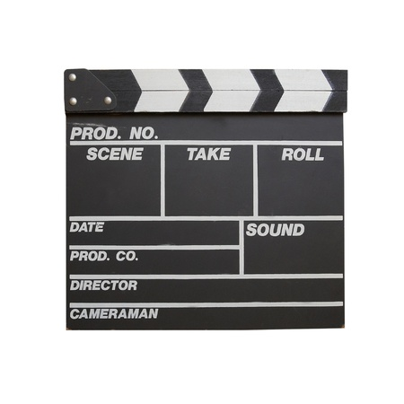 Black clapper board isolated on white background photo