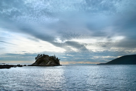 vancouver island: Island in the sea near coast. North Vancouver Stock Photo